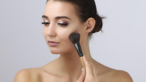 Makeup. Cosmetic. Base for Perfect Make-up.Applying Make-up Footage