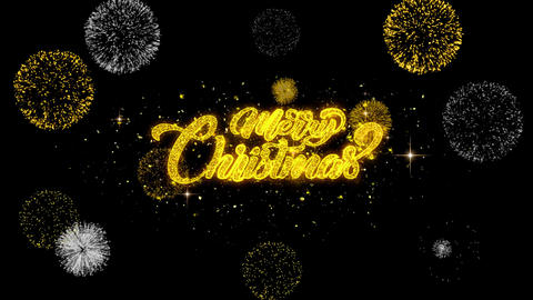 Merry Christmas golden Text blinking particles with golden fireworks Display Footage