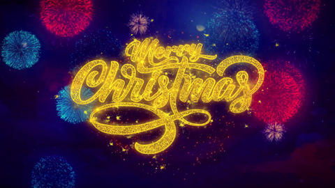 Merry Christmas xmas greeting text Sparkle Particles on Colored Fireworks Footage