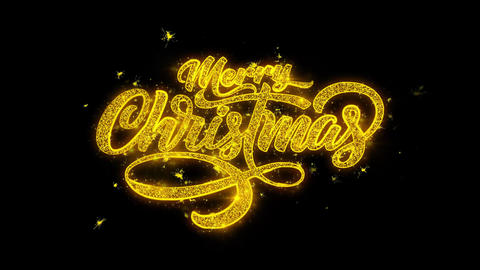 Merry Christmas Xmas Typography Written with Golden Particles Sparks Fireworks Footage