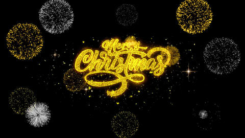 Merry Christmas Xmas golden Text blinking particles with golden fireworks Footage