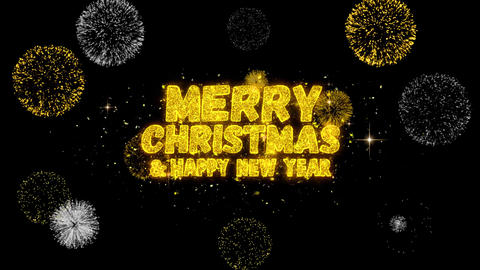 Merry Christmas and new year Text blinking particles with golden fireworks Live Action