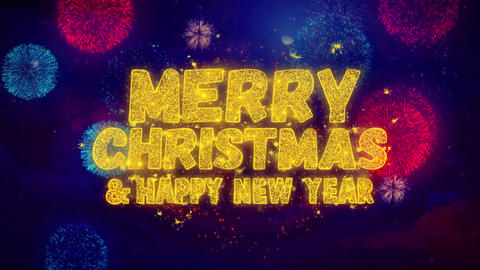 Merry Christmas and new year greeting text Sparkle Particles on Fireworks Live Action
