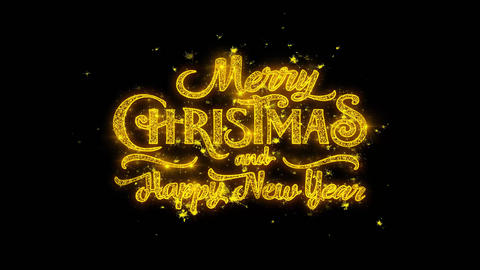 Merry Christmas and new year Typography Written with Golden Particles Sparks Live Action
