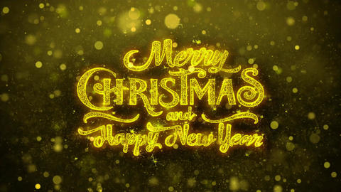Merry Christmas and new year Wishes Greetings card, Invitation, Firework Looped Live Action