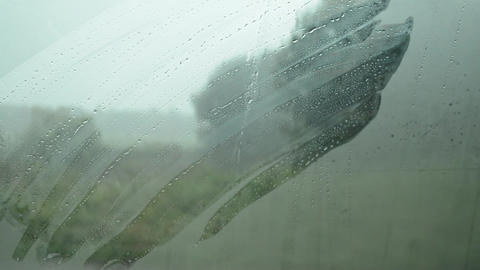 Rain in the car, misted glass 2 Footage