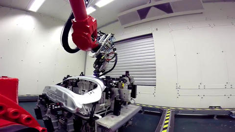 Automated Robotic Arm Automotive Car Industrial... Stock Video Footage
