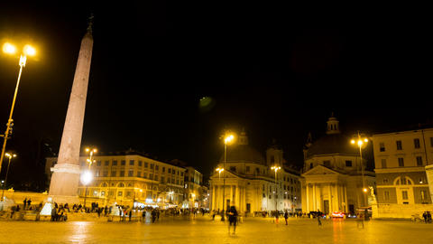 night timelapse in one of the most beautiful squares of Rome, Piazza del Popolo GIF