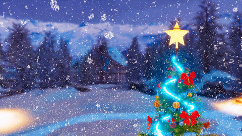 Outdoor decorated Christmas tree at snowy winter night Footage