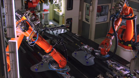 Robots Are Welding Car In Automobile Factory Live Action