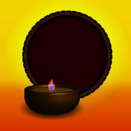 Shubh Happy Diwali festival oil lamp with a red circle Vector Vector