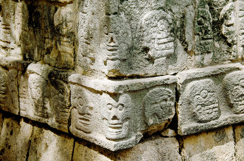 Tzompantli detail at Chichen Itza, Wonder of the World Photo