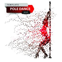 Pole dance, exotic, striptease - dot illustration Vector