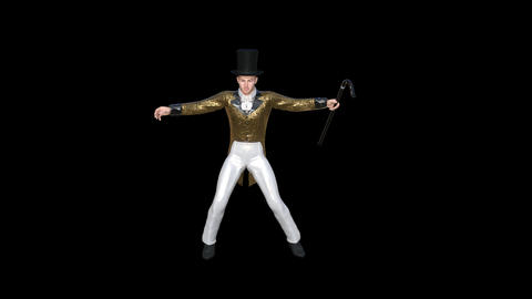 man in a stage costume is dancing ,loop, animation, transparent background Footage