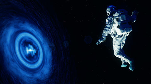 The astronaut is sucked into a massive black hole. Loop animation CG動画素材