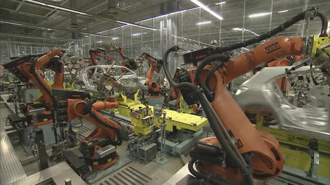 utomobile Plant, Robot Equipment, Modern Production Of Cars, Production Line Footage