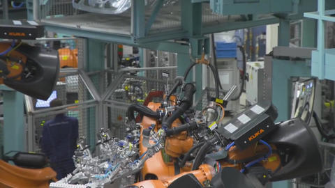 utomobile Plant, Robot Equipment, Modern Production Of... Stock Video Footage