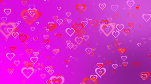Blinking hearts on a pink background. Romantic background Animation
