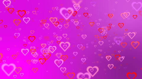 Blinking hearts on a pink background. Romantic background Stock Video Footage