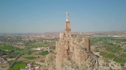 Aerial view of Castillo de Monteagudo, ancient castle in Murcia, Spain Footage