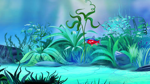 One Small red-blue striped aquarium fish in a tank Animation
