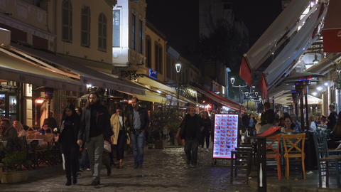 Thessaloniki, Greece Ladadika district crowd at restaurants at night GIF