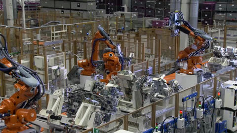 Automobile Plant, Robot Equipment, Welding Process And Assembly Line Of Cars Footage