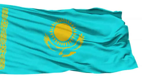 Animation of the full fluttering national flag of Kazakhstan isolated on white Footage