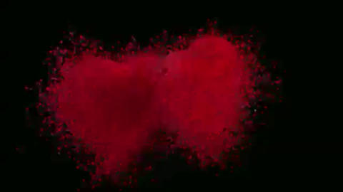 Animation hearts of particles with an alpha channel Footage
