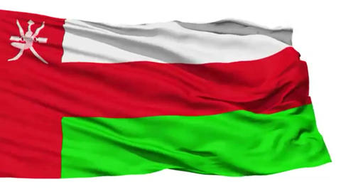 Animation of the full fluttering national flag of Oman isolated on white Footage