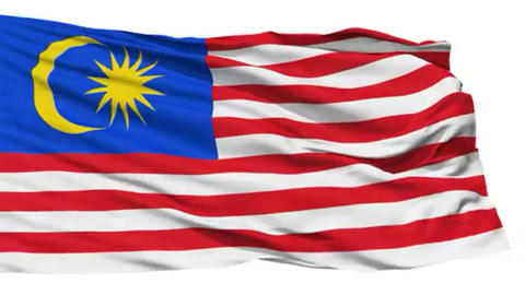 Animation of the full fluttering national flag of Malaysia isolated on white Footage
