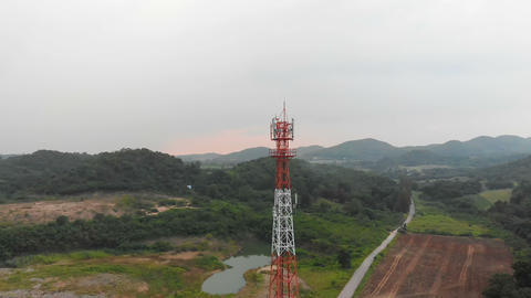 4K Drone shot aerial view scenic landscape of Communication tower with nature Footage