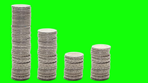 Five stacks of coins that go down, rise and down again - Stop Motion - Chroma Footage