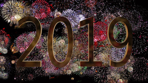 New Year 2019 on a fireworks background. New Year concept. Colorful Firework 4k Live Action