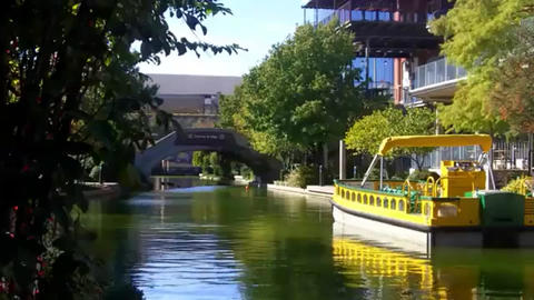 Oklahoma City Riverwalk or River Walk with a tour boat in Bricktown or Brick Live Action