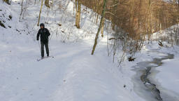 Skier. Forest scene. Man enjoy cross-country skiing in the woods Footage