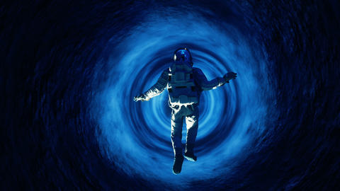 The astronaut falls into a massive space black hole Animación