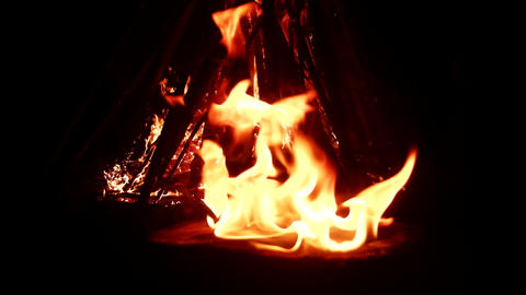 Huge fire at night attractive bright and magical Footage