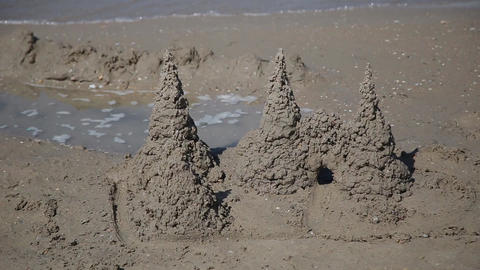 Great castle of sand on a beach Footage