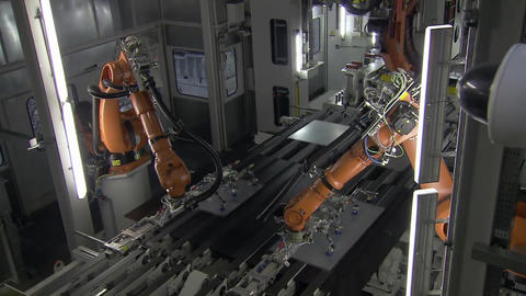 Automobile Plant, Robot Equipment, Welding Process, Assembly Line Of Cars5 Footage