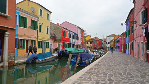 Colored houses in Burano Island Archivo