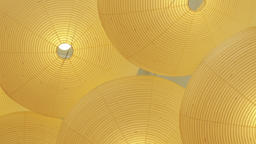 Yellow Lampshades From Ceiling Abstract Footage