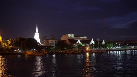 White stupa on Chao Phraya river at cityscape skyline Footage