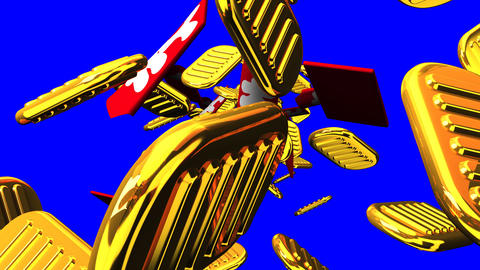 Oval gold coins and bags on blue chroma key CG動画