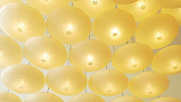 Yellow Lampshades From Ceiling Abstract ビデオ