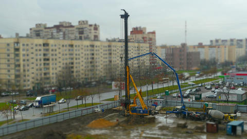 construction site drilling pile foundation 영상물