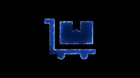 Symbol dolly flatbed. Blue Electric Glow Storm. looped video. Alpha channel Animation