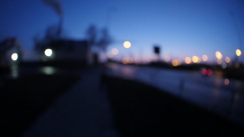 View of city at night, fisheye lens GIF