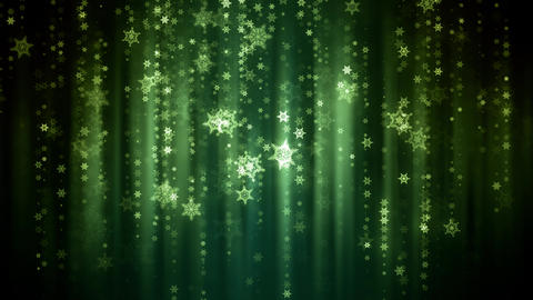 Green Snow Flakes Glitters Animation
