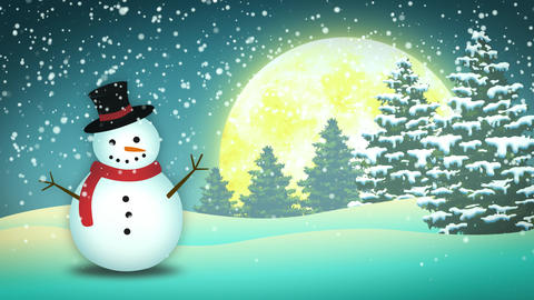 Holidays Snowman Landscape Animation